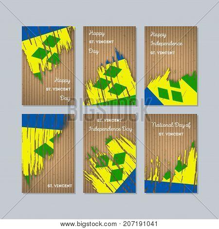 St. Vincent Patriotic Cards For National Day. Expressive Brush Stroke In National Flag Colors On Kra
