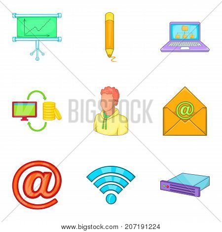 Online call icons set. Cartoon set of 9 online call vector icons for web isolated on white background