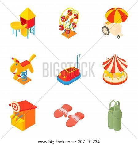 Promenade icons set. Cartoon set of 9 promenade vector icons for web isolated on white background
