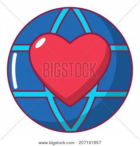 Planet heart icon. Cartoon illustration of planet heart vector icon for web