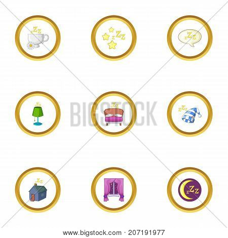 Bed time icons set. Cartoon style set of 9 bed time vector icons for web design