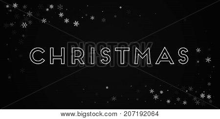 Christmas Greeting Card. Sparse Snowfall Background. Sparse Snowfall On Black Background.pretty Vect
