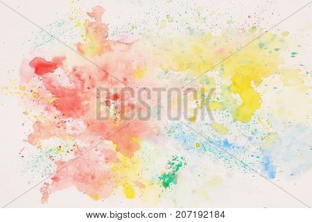 Rainbow colored spot, abstract watercolor stain on white paper. Layout for design. Hand draw illustration. Texture of watercolor paper. Artwork for creative banner, card, template, design