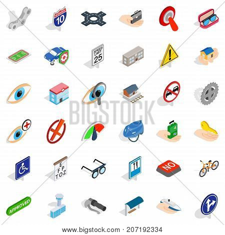 Rood icons set. Isometric style of 36 rood vector icons for web isolated on white background