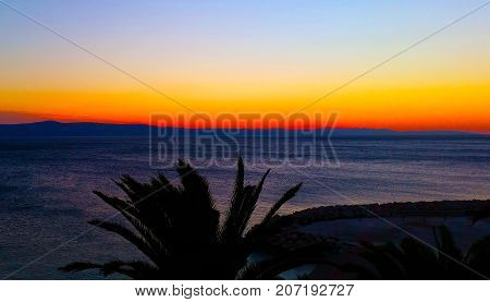 Autumn sunset over the Adriatic Sea in Podgora, Croatia