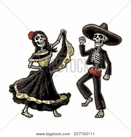 Day of the Dead, Dia de los Muertos. The skeleton in the Mexican woman national costumes sing and dance. Vector hand drawn vintage engraving for poster, label. Isolated on white background