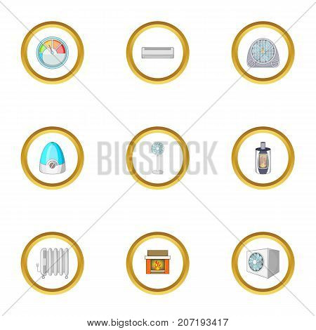 Heating convector icons set. Cartoon style set of 9 heating convector vector icons for web design