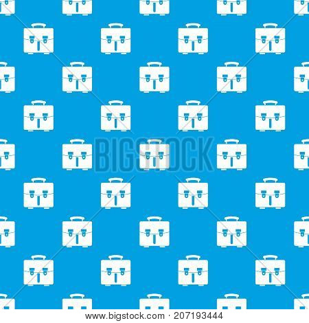 Diplomat bag pattern repeat seamless in blue color for any design. Vector geometric illustration