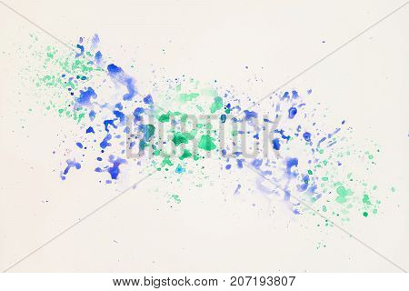 Blue and green cheerful light multicolored spots on white paper, spring shades. Hand draw illustration. Artwork for creative banner