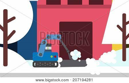 Domestic robot shoveling winter snow. Robotic shovel futuristic concept illustration vector.