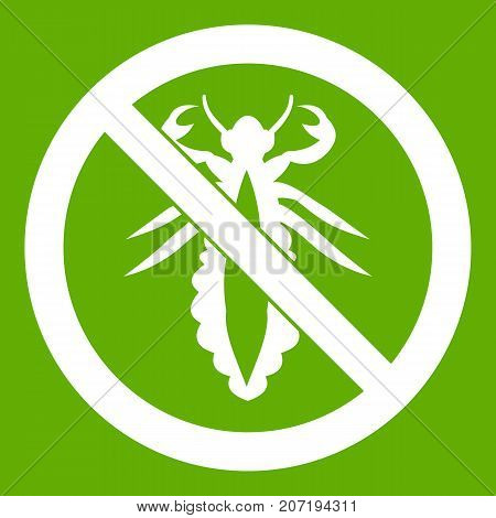 No louse sign icon white isolated on green background. Vector illustration