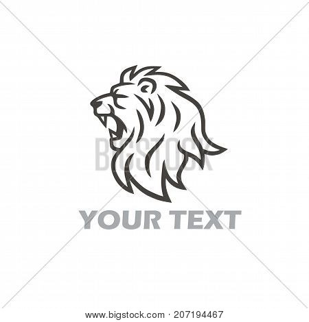 Lion Head Roaring Vector Logo Template Illustration