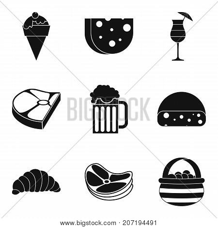 Calorie food icons set. Simple set of 9 calorie food vector icons for web isolated on white background