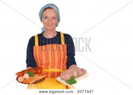 Housewife Showing Meat