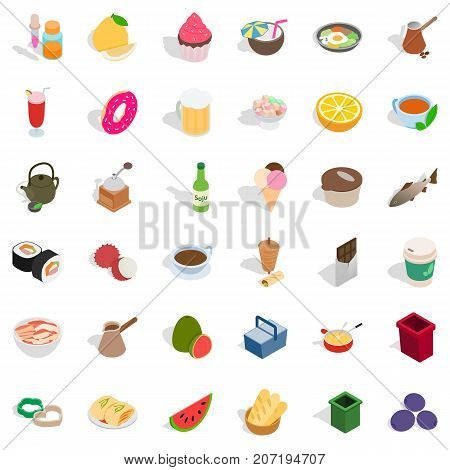 Culinary icons set. Isometric style of 36 culinary vector icons for web isolated on white background