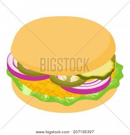 Burger onion icon. Isometric illustration of burger onion icon for web