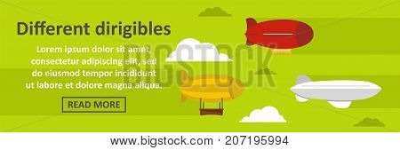Different dirigibles banner horizontal concept. Flat illustration of different dirigibles banner horizontal vector concept for web design