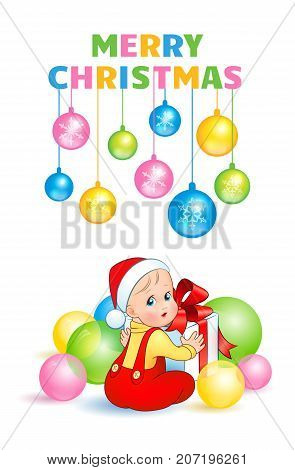 Bright christmas vector illustration. A cute baby in a suit and cap Santa is sitting surrounded by balloons and opens a gift box with a red bow