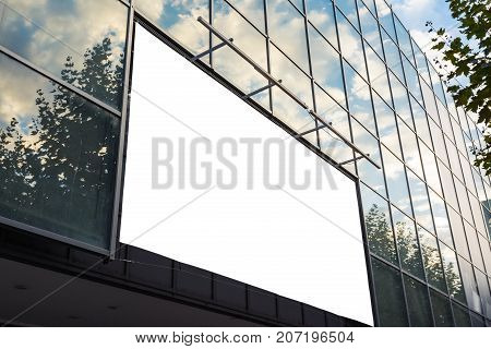 Glass Facade Shopping Center Billboard Ad Space Sky Reflection Outdoors Large Format Blank White Isolated