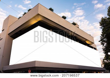 Massive Mall Billboard Large Format Building Blank White Space Isolated