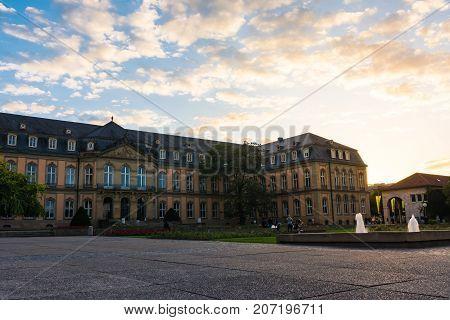 Stuttgart Neues Schloss Closeup Sunset Beautiful Vivid Travel Destination