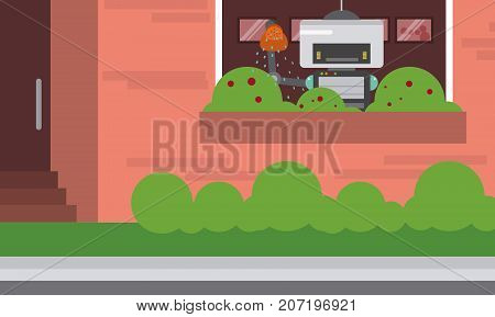Domestic robot watering plants at window. Robot housekeeper with watering can in arm. Personal robot housekeeping futuristic concept illustration vector.