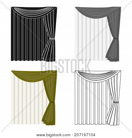 Curtains, single icon in cartoon style.Curtains vector symbol stock illustration .