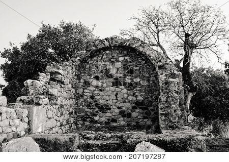 Myndos, Halikarnassos. Antique city remains from today.