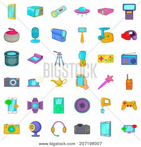 Gadget icons set. Cartoon style of 36 gadget vector icons for web isolated on white background