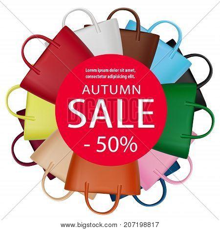 Women bags sale banner. Trendy fashion accessories vector poster. Fall season fashion. Handbags. Autumn discount illustration for shopping or lady fashion design.