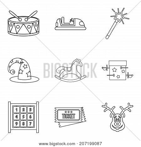 Lesson for the child icons set. Outline set of 9 lesson for the child vector icons for web isolated on white background