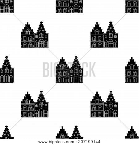 Housing in Belgium.The dark Belgian wolf. Belgium single icon in black style vector symbol stock web illustration.