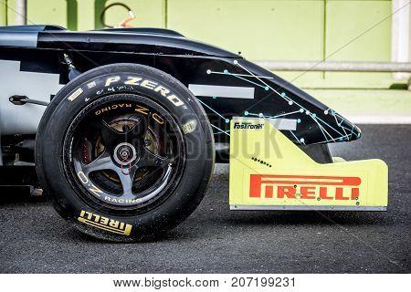 Vallelunga, Italy September 24 2017. Single Seater Formula Car Nose Spoiler And Wheel Detail