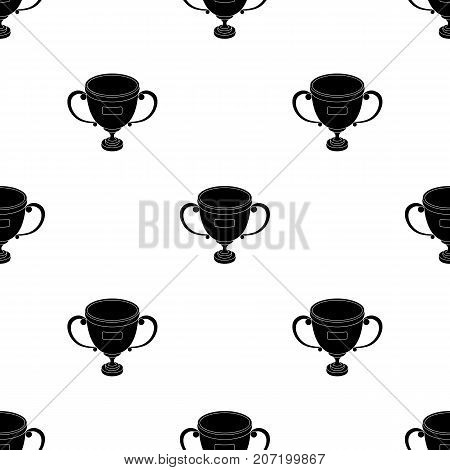 Gold cup of the winner.Fans single icon in black  vector symbol stock illustration.