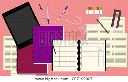 Note book, tablet, earphones, note pad and pen on table. Top view working desk table concept illustration vector.