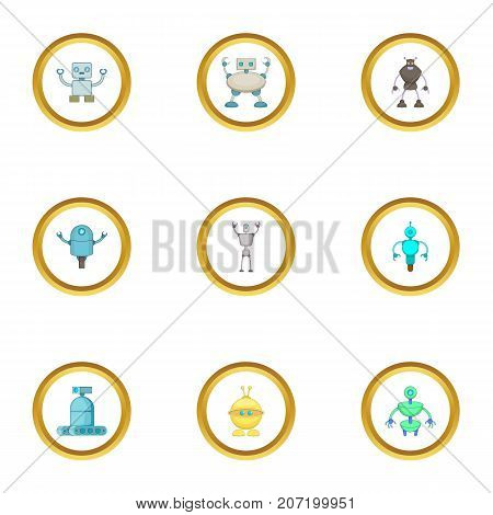 Cyborg icons set. Cartoon style set of 9 cyborg vector icons for web design
