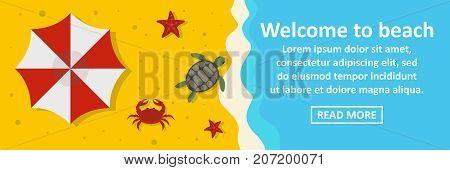 Welcome to beach banner horizontal concept. Flat illustration of welcome to beach banner horizontal vector concept for web design