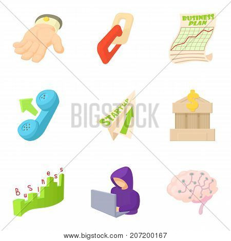 Annual income icons set. Cartoon set of 9 annual income vector icons for web isolated on white background
