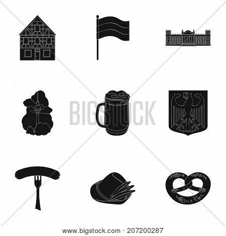 Cooking, textiles, tourism and other  icon in black style.Residential, national, attributes, icons in set collection
