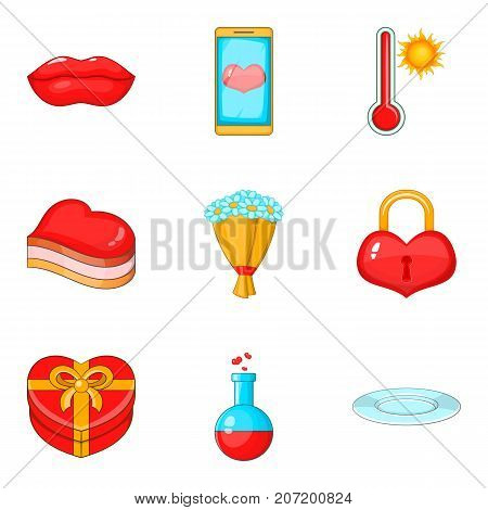 Delicious dish icons set. Cartoon set of 9 delicious dish vector icons for web isolated on white background
