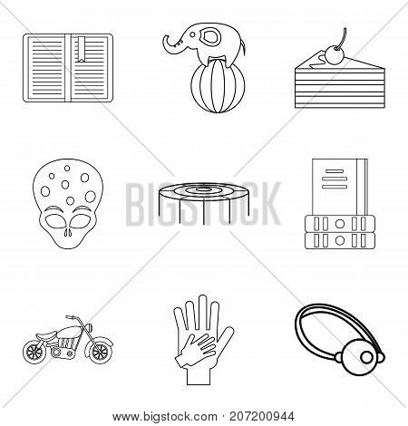 Fun for kiddy icons set. Outline set of 9 fun for kiddy vector icons for web isolated on white background