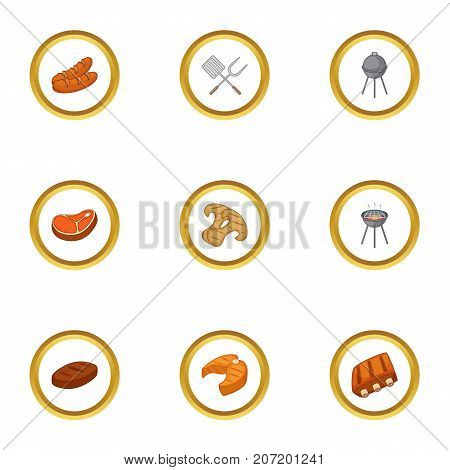 Cooking on fire icons set. Cartoon style set of 9 cooking on fire vector icons for web design