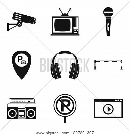 Record icons set. Simple set of 9 record vector icons for web isolated on white background
