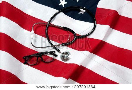 Stethoscope on US flag.  American national flag