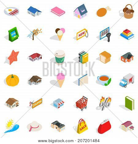 Nice icons set. Isometric style of 36 nice vector icons for web isolated on white background