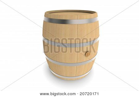 Wood Barrel Isolated On White