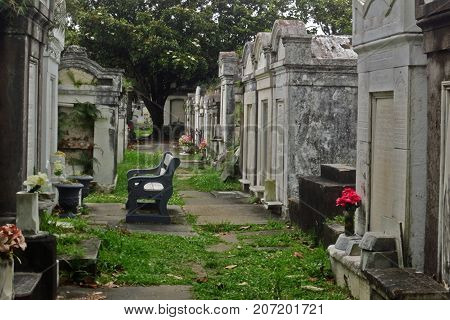 Creepy Scene of an Isolated Bench amongst Mausoleums in a Cemetery