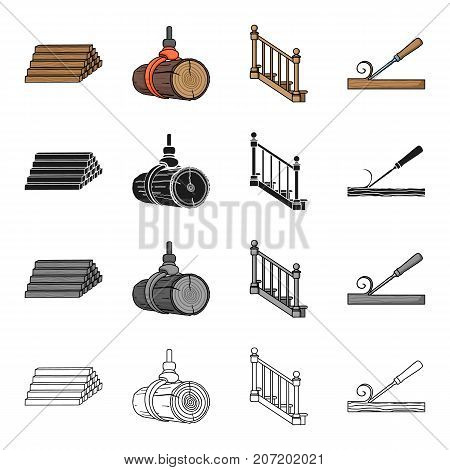 Woodworking, enterprise, ecology and other  icon in cartoon style.Board, tools, locksmith, icons in set collection