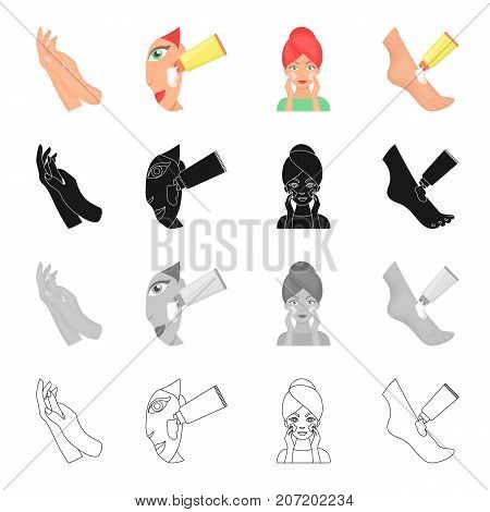 Cosmetology, cosmetics, perfumery and other  icon in cartoon style. Foot, ointment, hygiene, icons in set collection