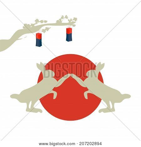Vector illustration or icon for Chuseok, literally Autumn eve, known also as hangawi or Korean Middle Autumn or Fall Harvest Festival. Moon Rabbits or Hares and traditional korean lantern.